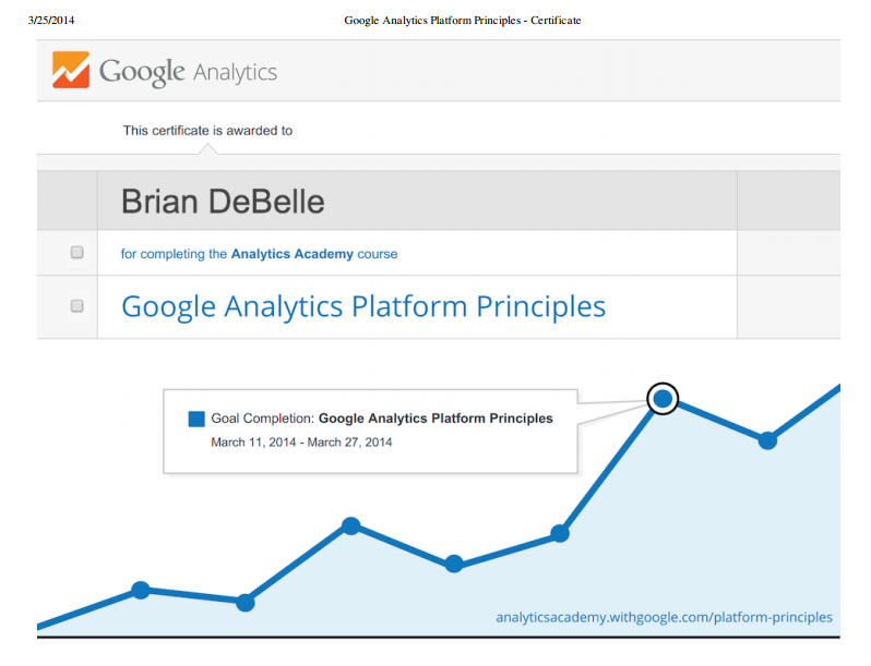 Google Analytics Platform Principles Certification